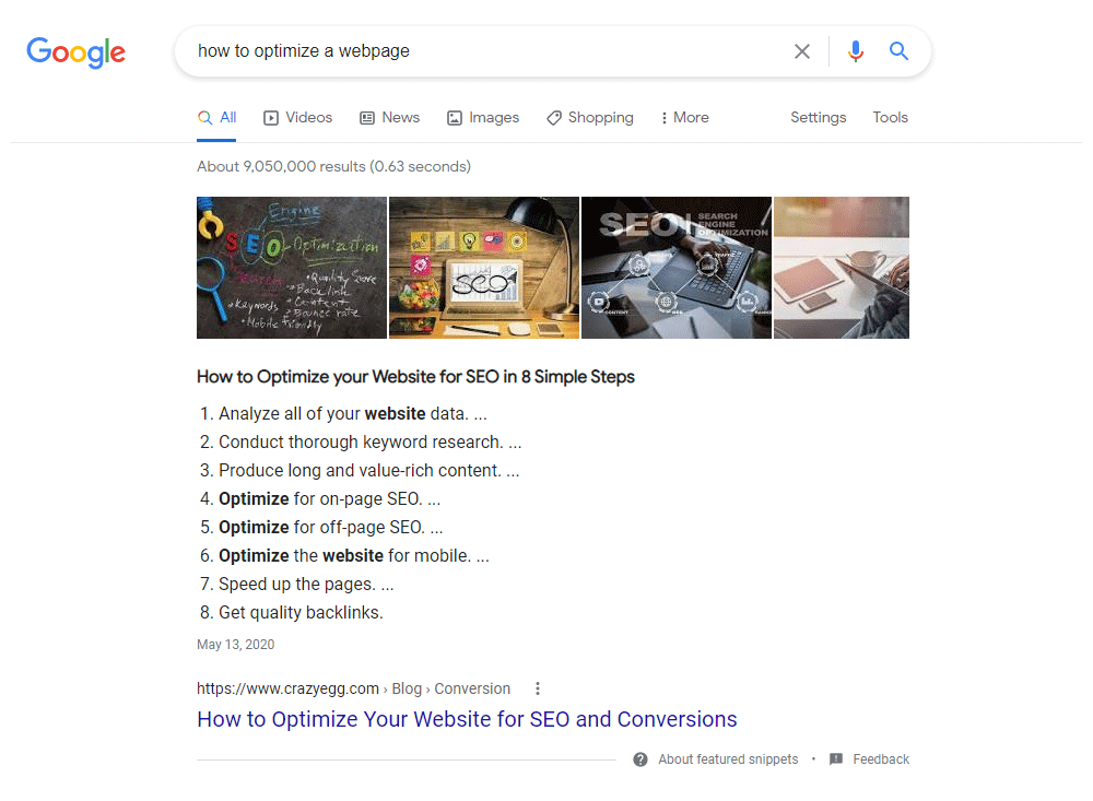 Featured snippet heading optimization