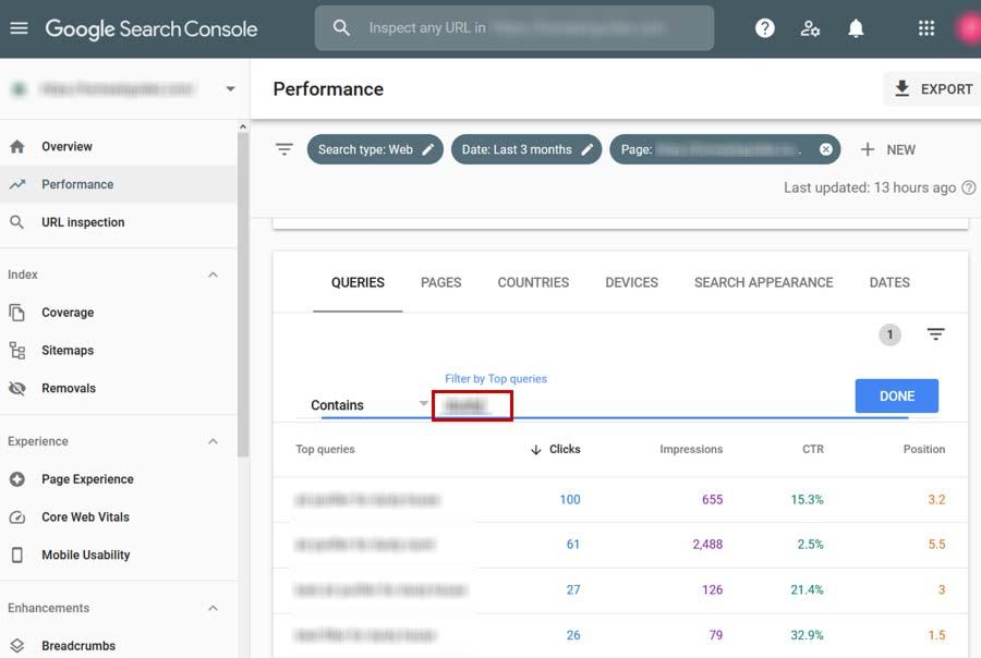 Google Search Console filter queries by keyword