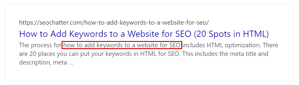 How to add keywords for Google search meta description