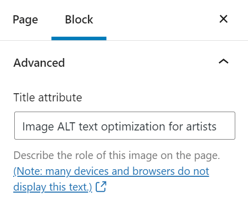 Image title attribute for artists